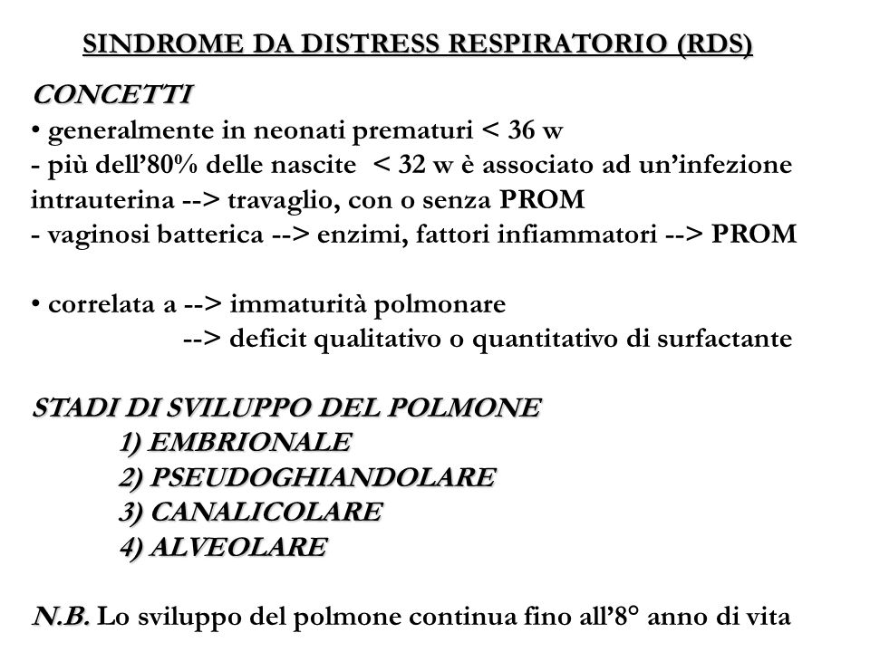 SINDROME DA DISTRESS RESPIRATORIO (RDS)