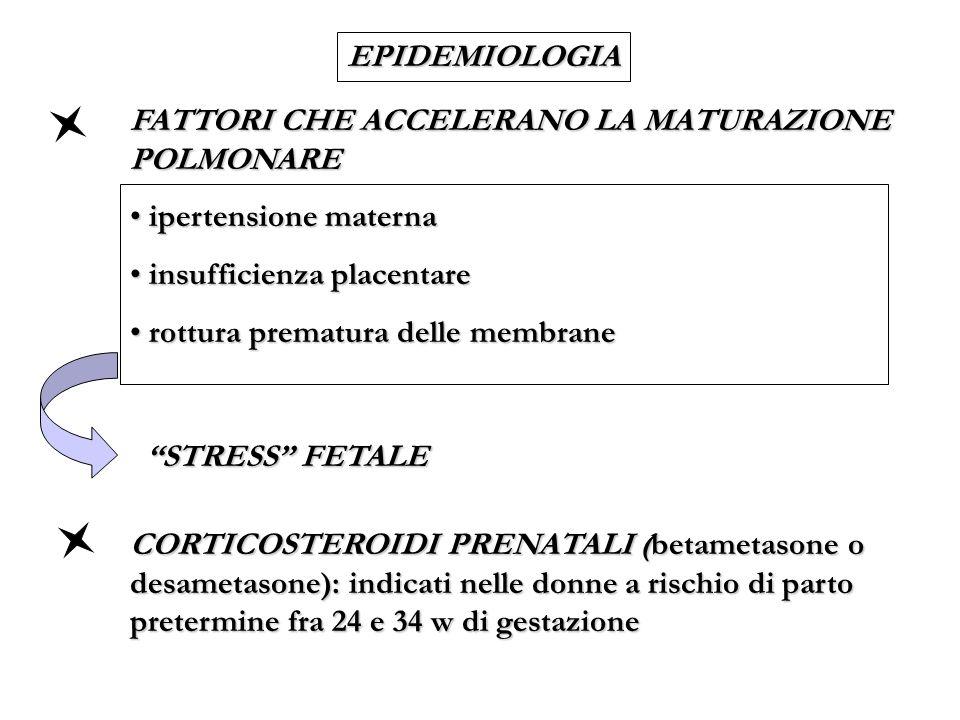 EPIDEMIOLOGIA FATTORI CHE ACCELERANO LA MATURAZIONE POLMONARE. ipertensione materna. insufficienza placentare.