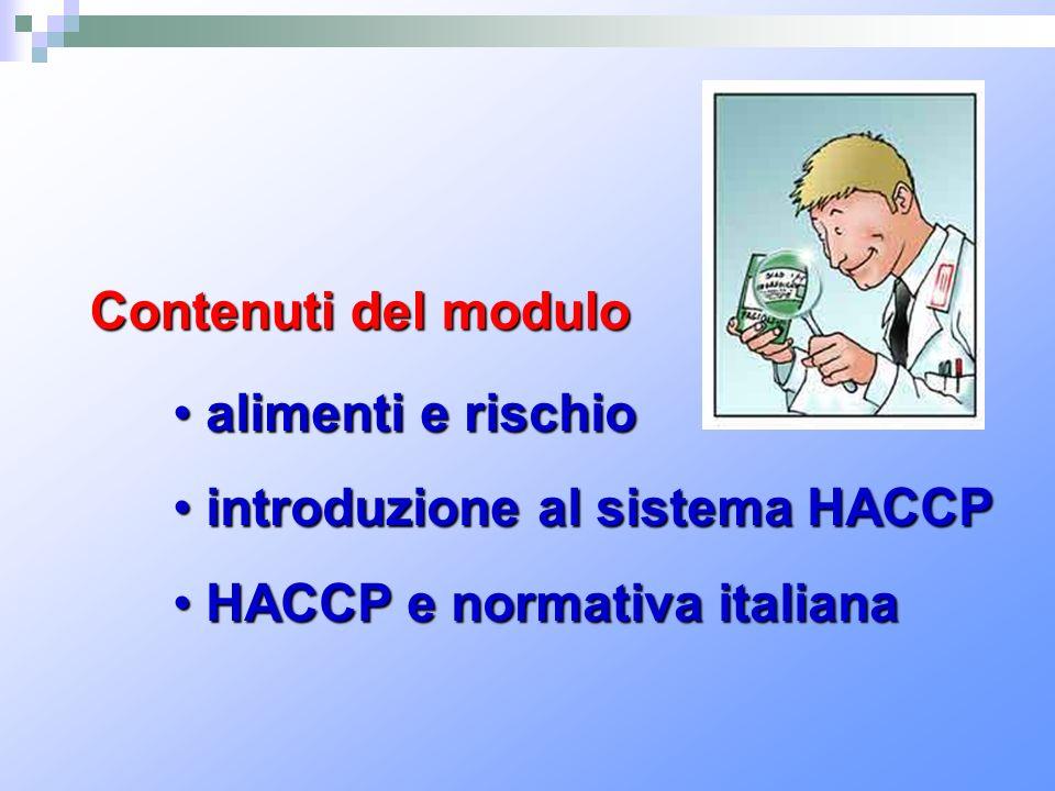 Contenuti del modulo alimenti e rischio introduzione al sistema HACCP HACCP e normativa italiana