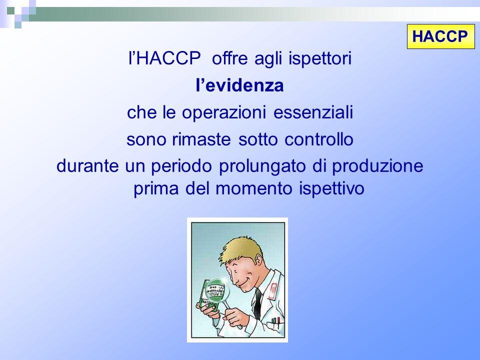 l'HACCP offre agli ispettori l'evidenza che le operazioni essenziali