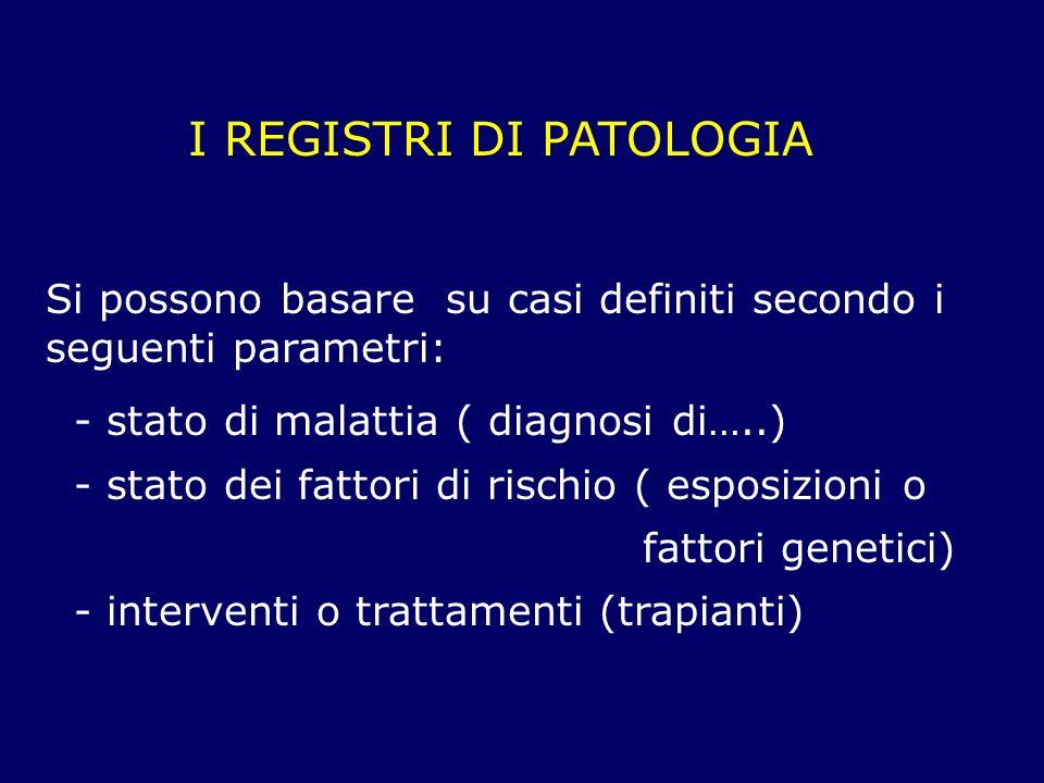 I REGISTRI DI PATOLOGIA