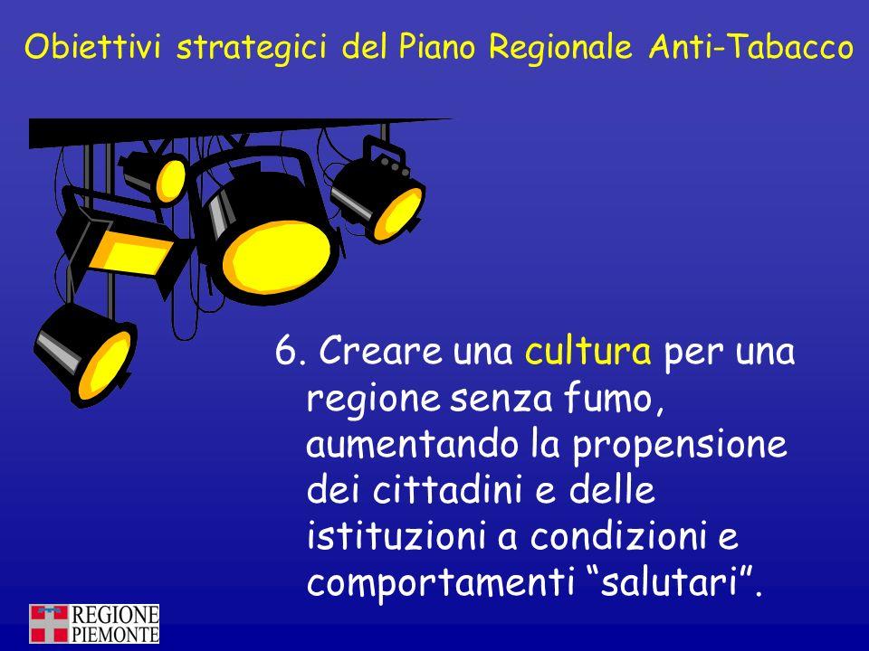 Obiettivi strategici del Piano Regionale Anti-Tabacco