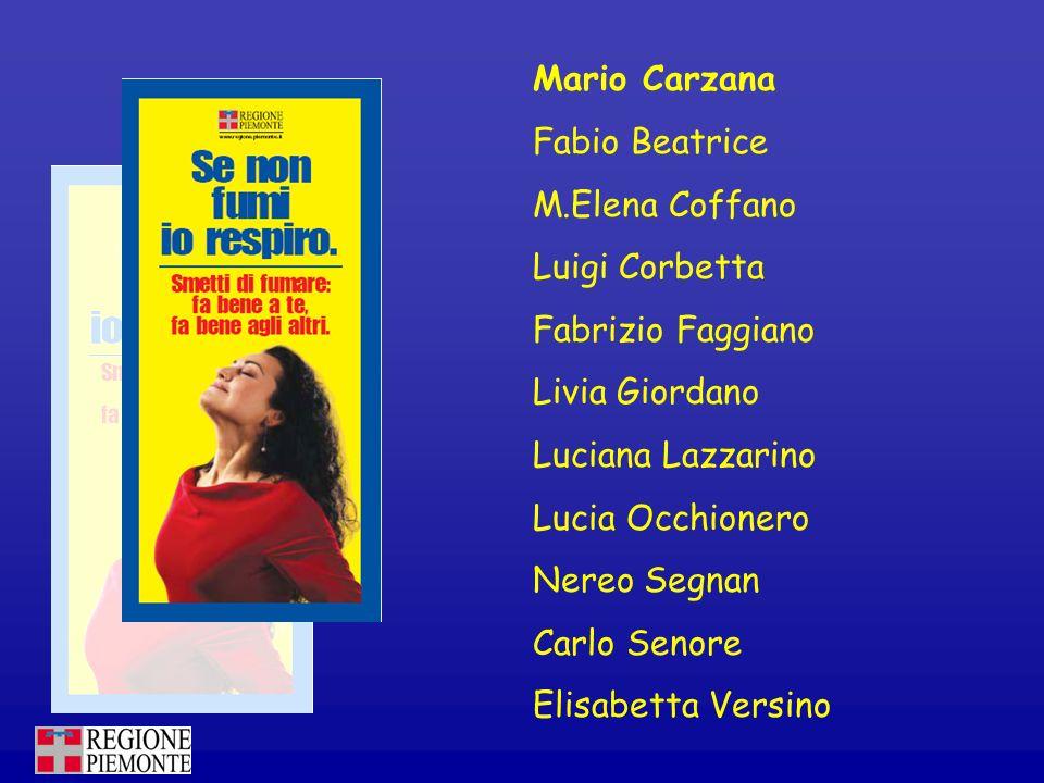 Mario Carzana Fabio Beatrice. M.Elena Coffano. Luigi Corbetta. Fabrizio Faggiano. Livia Giordano.