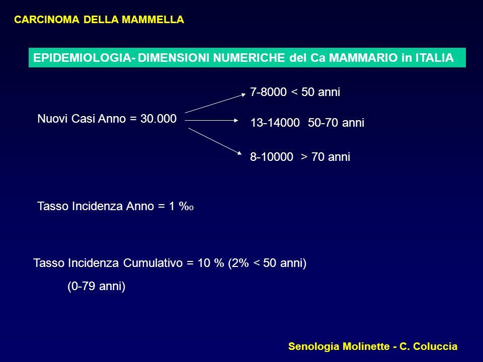 EPIDEMIOLOGIA- DIMENSIONI NUMERICHE del Ca MAMMARIO in ITALIA