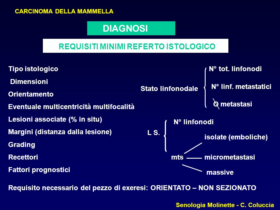 REQUISITI MINIMI REFERTO ISTOLOGICO