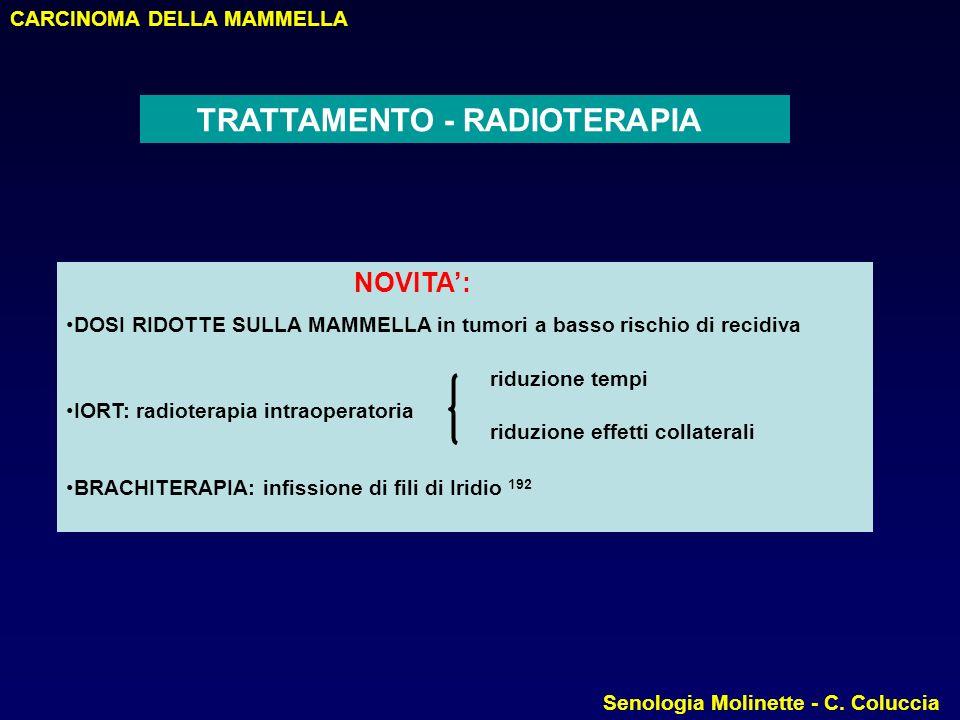 NOVITA': TRATTAMENTO - RADIOTERAPIA CARCINOMA DELLA MAMMELLA
