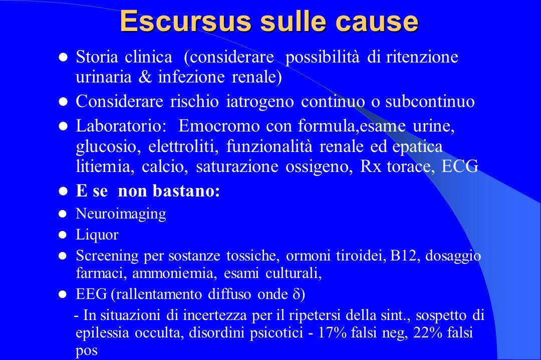 Escursus sulle cause Storia clinica (considerare possibilità di ritenzione urinaria & infezione renale)