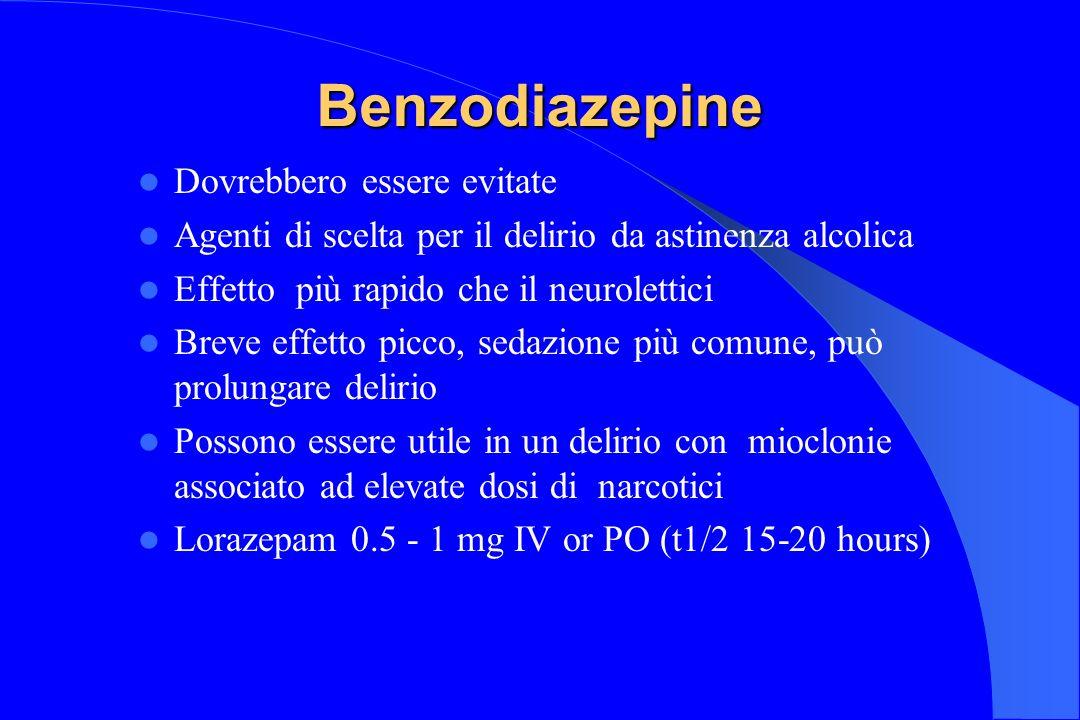 Benzodiazepine Dovrebbero essere evitate