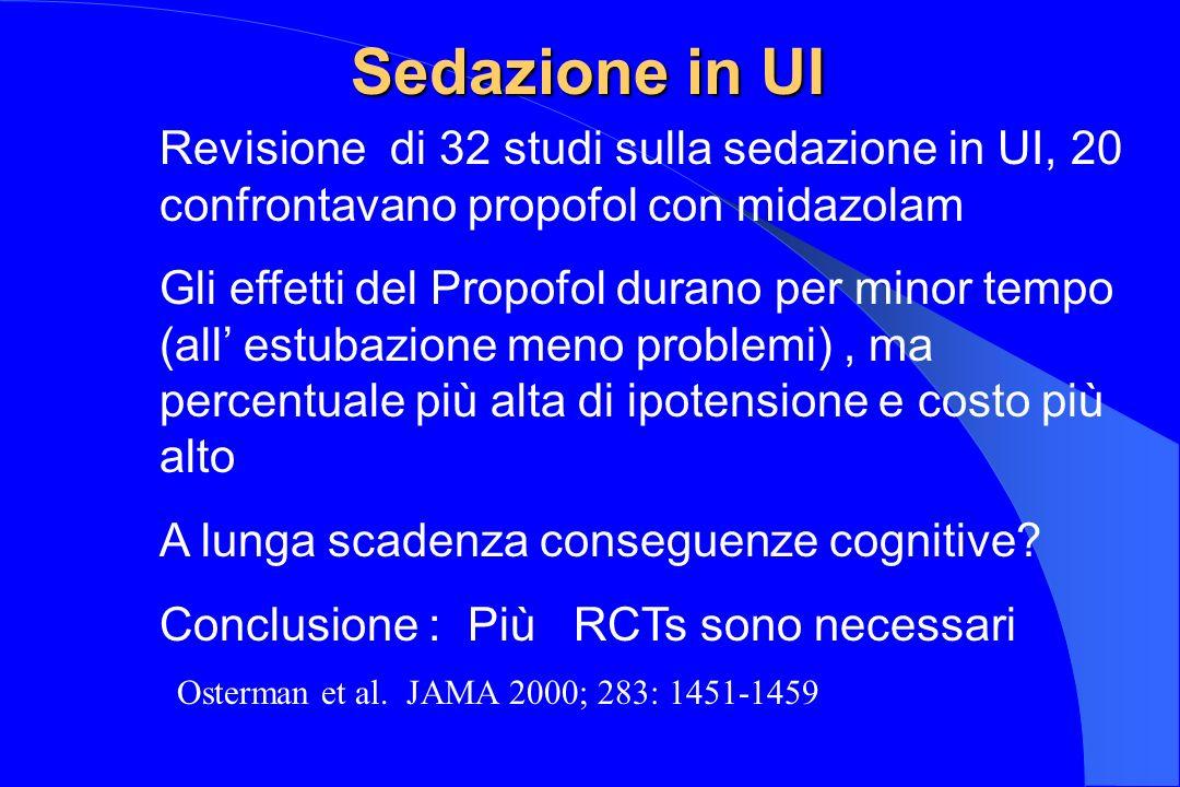 Sedazione in UI Revisione di 32 studi sulla sedazione in UI, 20 confrontavano propofol con midazolam.