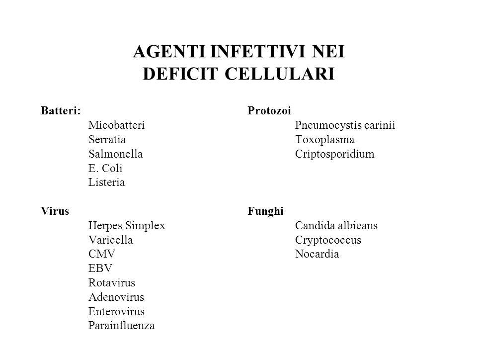 AGENTI INFETTIVI NEI DEFICIT CELLULARI