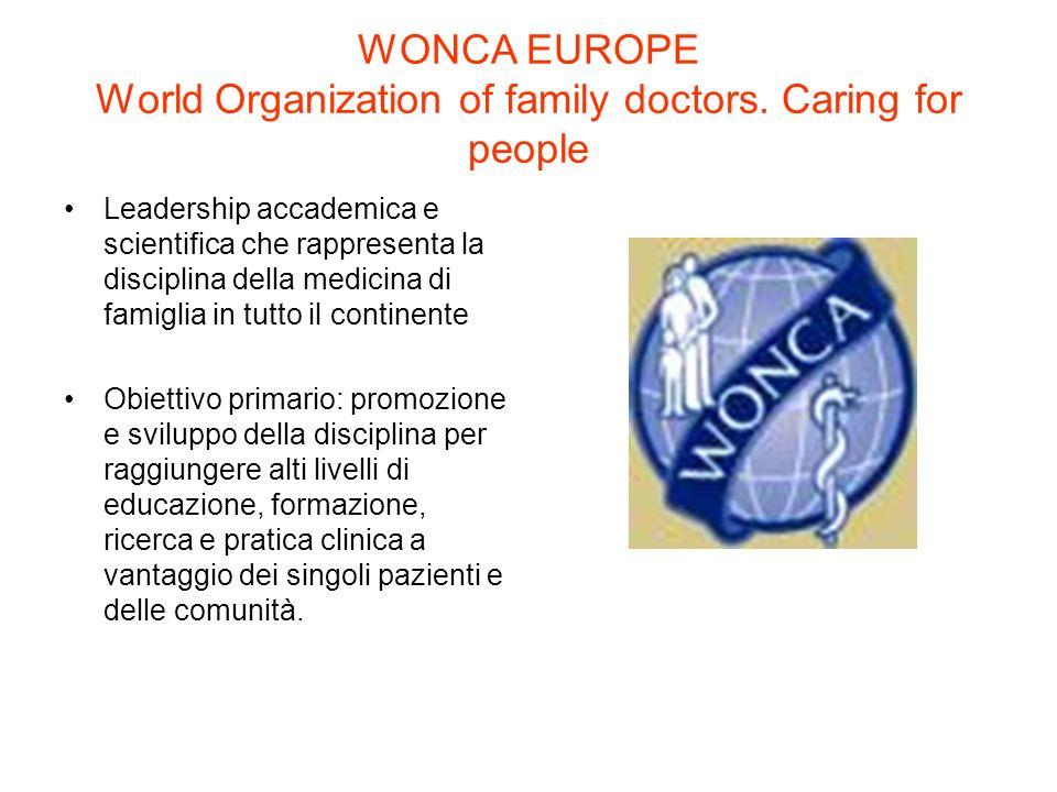 WONCA EUROPE World Organization of family doctors. Caring for people