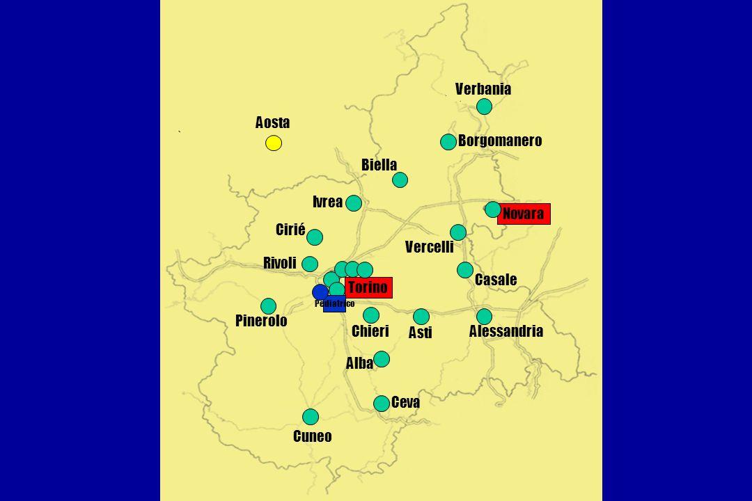 Verbania Aosta Borgomanero Biella Ivrea Novara Cirié Vercelli Rivoli