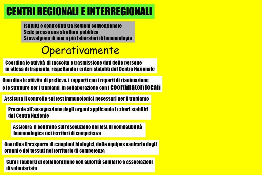 CENTRI REGIONALI E INTERREGIONALI
