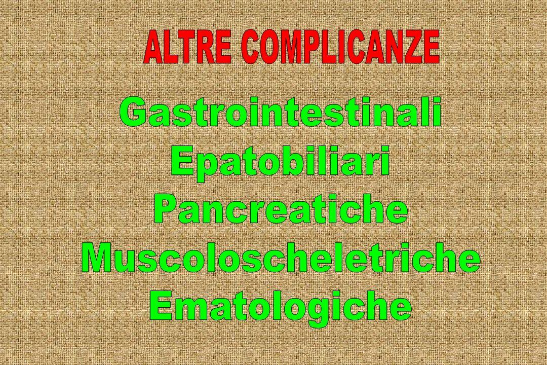 ALTRE COMPLICANZE Gastrointestinali Epatobiliari Pancreatiche Muscoloscheletriche Ematologiche