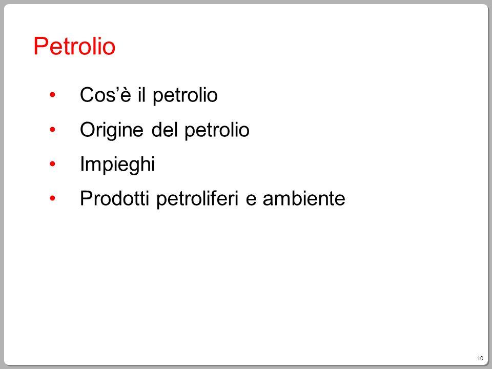 Petrolio Cos'è il petrolio Origine del petrolio Impieghi
