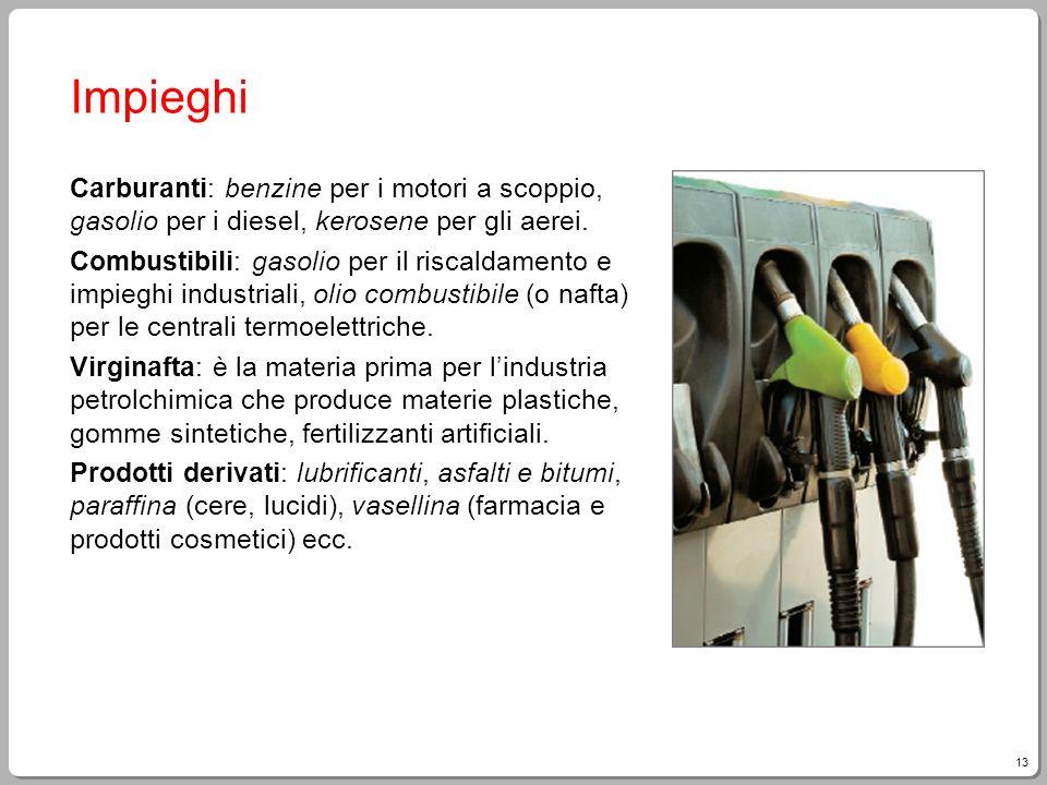 Impieghi Carburanti: benzine per i motori a scoppio, gasolio per i diesel, kerosene per gli aerei.