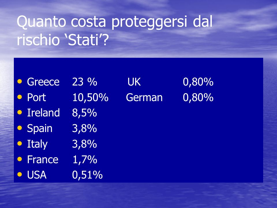 Quanto costa proteggersi dal rischio 'Stati'