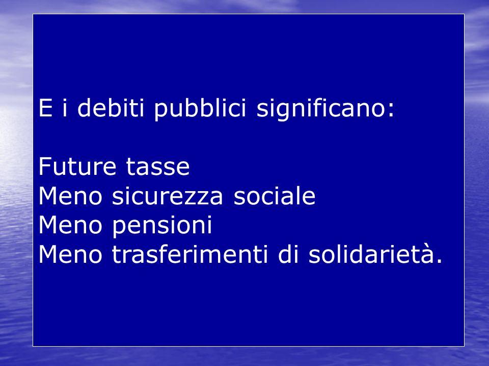 E i debiti pubblici significano: