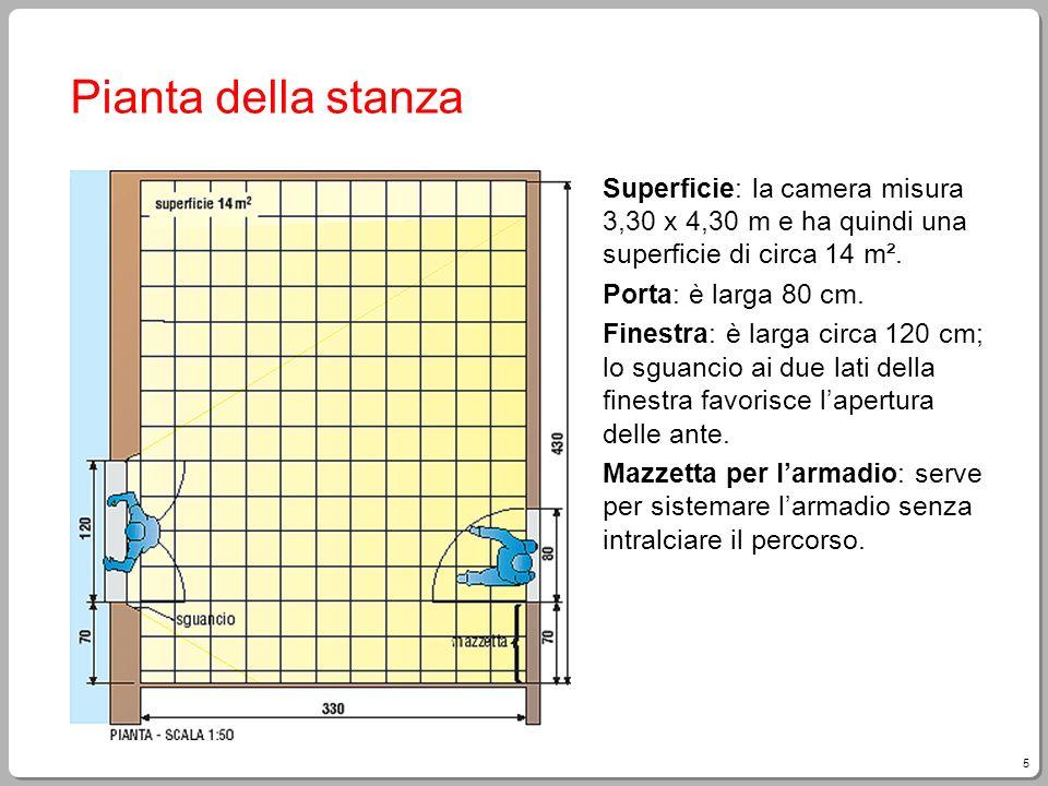 Pianta della stanza Superficie: la camera misura 3,30 x 4,30 m e ha quindi una superficie di circa 14 m².