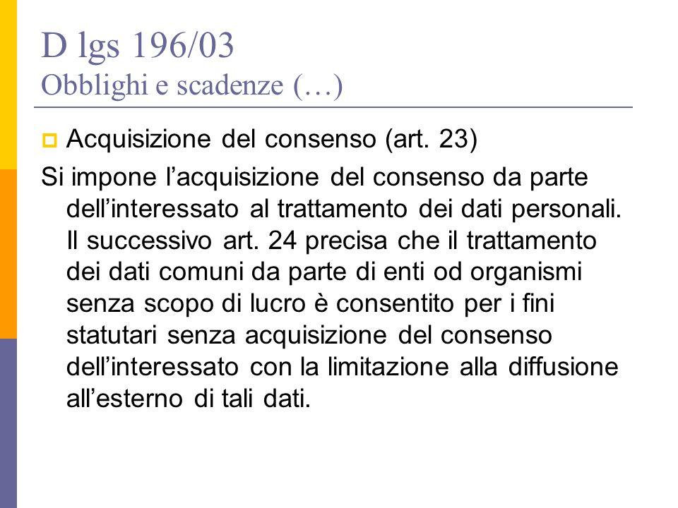 D lgs 196/03 Obblighi e scadenze (…)
