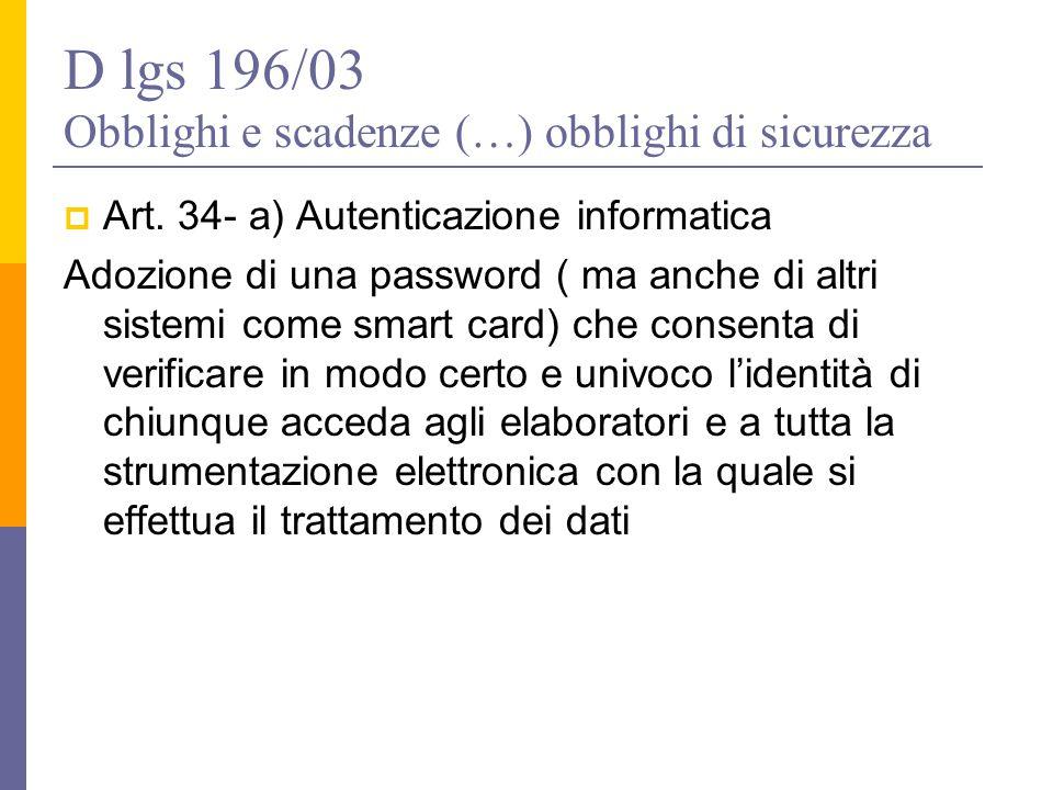 D lgs 196/03 Obblighi e scadenze (…) obblighi di sicurezza
