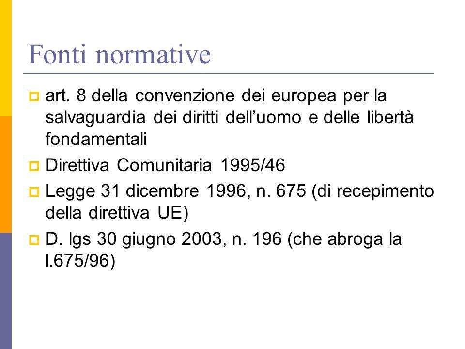Fonti normative art. 8 della convenzione dei europea per la salvaguardia dei diritti dell'uomo e delle libertà fondamentali.