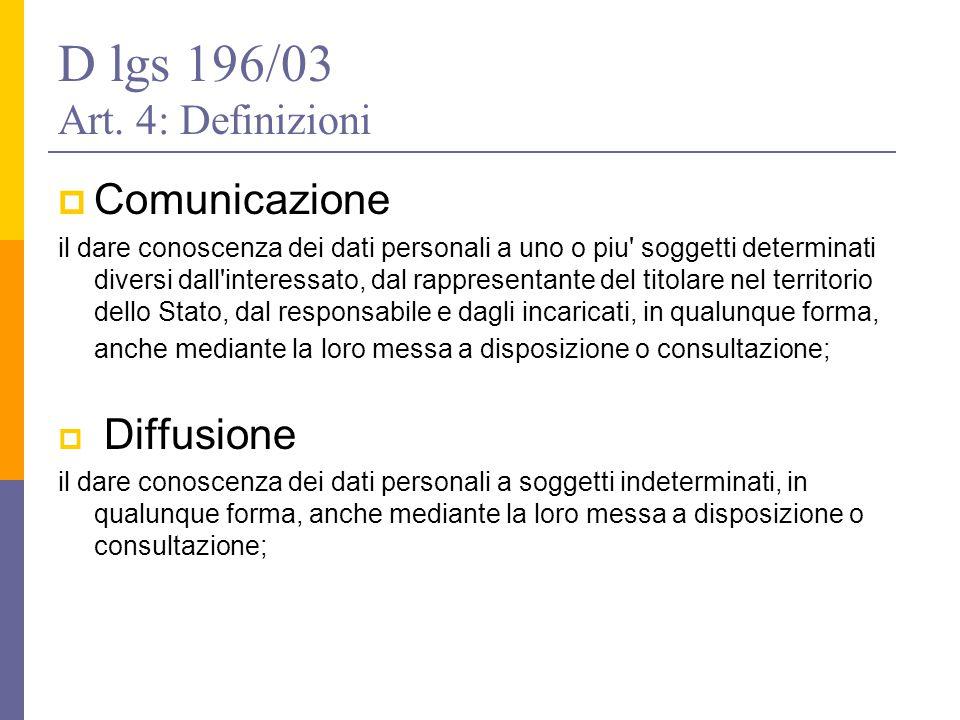 D lgs 196/03 Art. 4: Definizioni