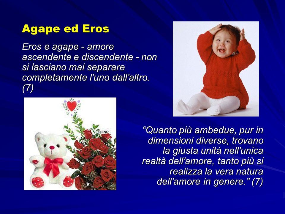 Agape ed Eros Eros e agape - amore ascendente e discendente - non si lasciano mai separare completamente l'uno dall'altro. (7)