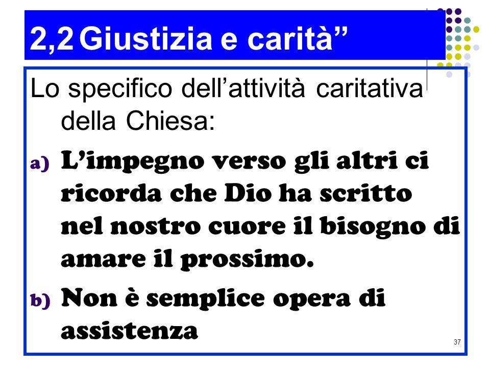 2,2 Giustizia e carità Lo specifico dell'attività caritativa della Chiesa: