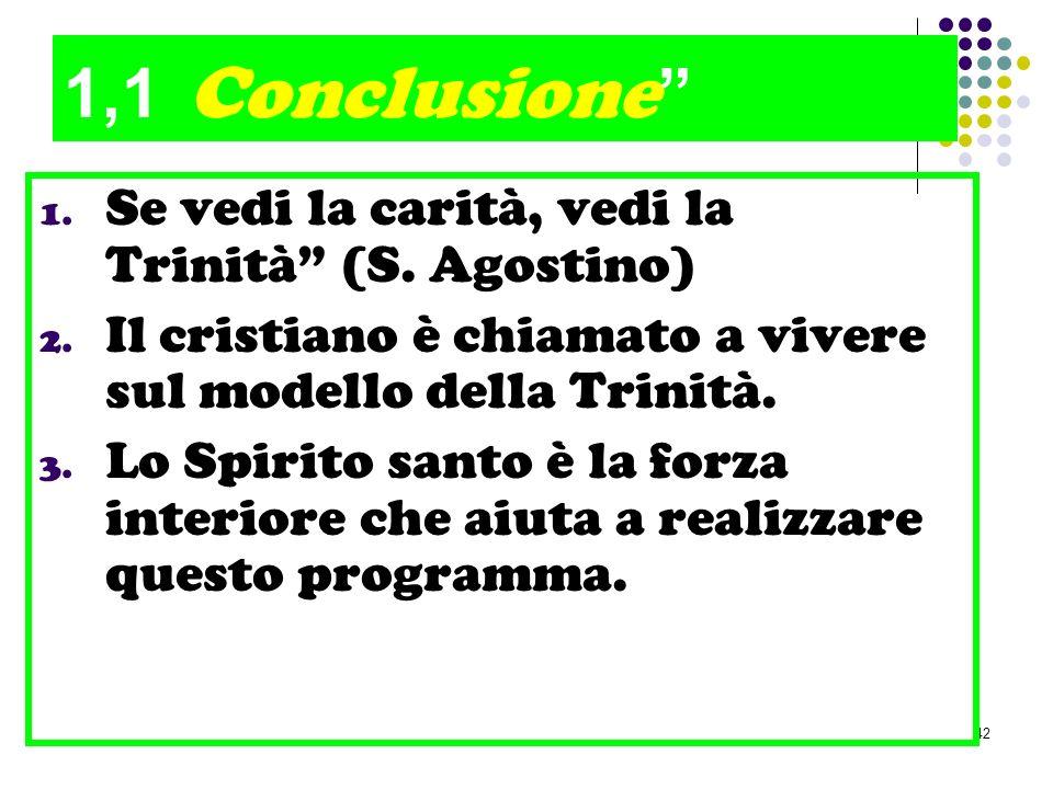 1,1 Conclusione Se vedi la carità, vedi la Trinità (S. Agostino)
