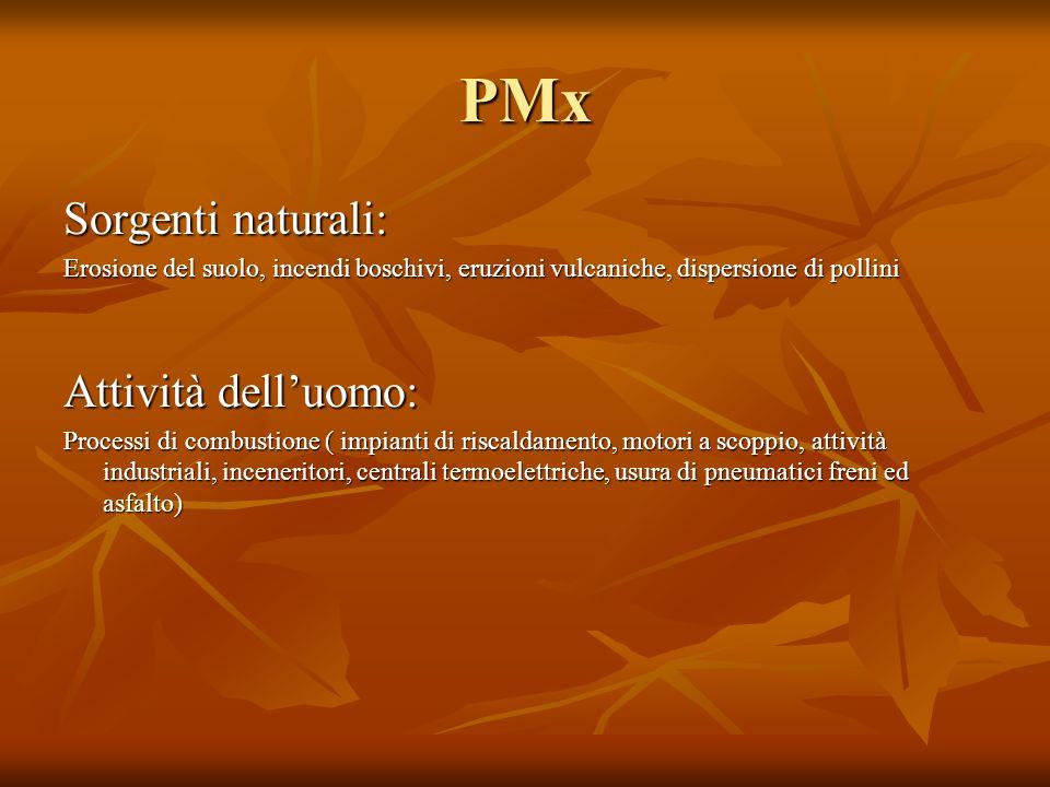 PMx Sorgenti naturali: Attività dell'uomo: