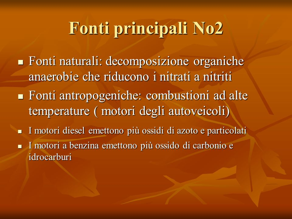 Fonti principali No2 Fonti naturali: decomposizione organiche anaerobie che riducono i nitrati a nitriti.