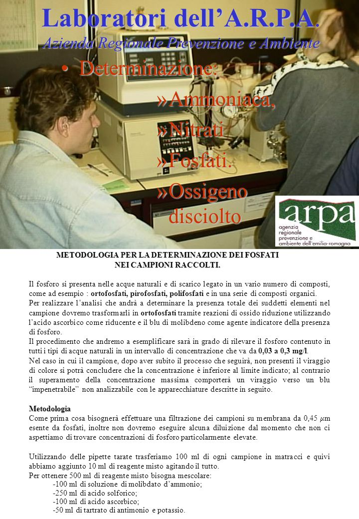 METODOLOGIA PER LA DETERMINAZIONE DEI FOSFATI