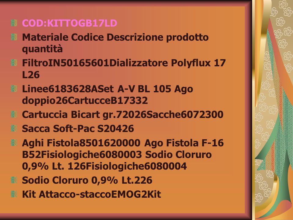 COD:KITTOGB17LDMateriale Codice Descrizione prodotto quantità. FiltroIN50165601Dializzatore Polyflux 17 L26.