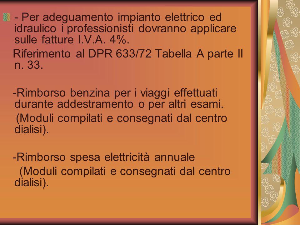 - Per adeguamento impianto elettrico ed idraulico i professionisti dovranno applicare sulle fatture I.V.A. 4%.