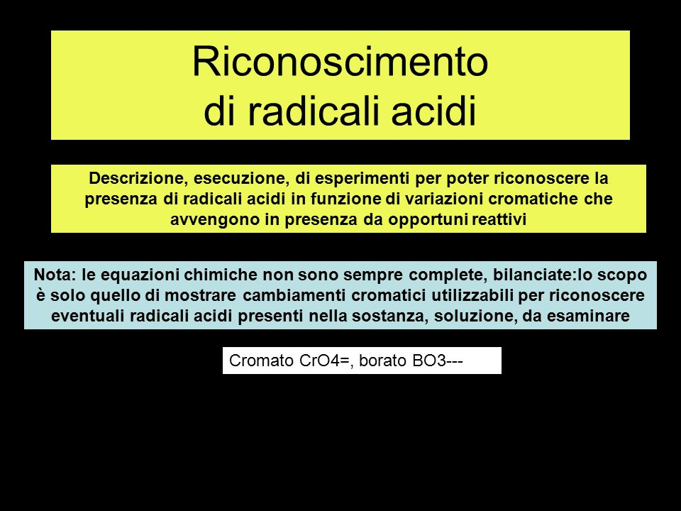 Riconoscimento di radicali acidi