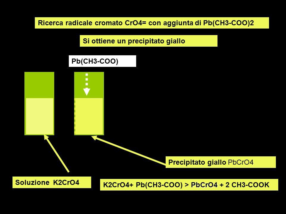 Ricerca radicale cromato CrO4= con aggiunta di Pb(CH3-COO)2