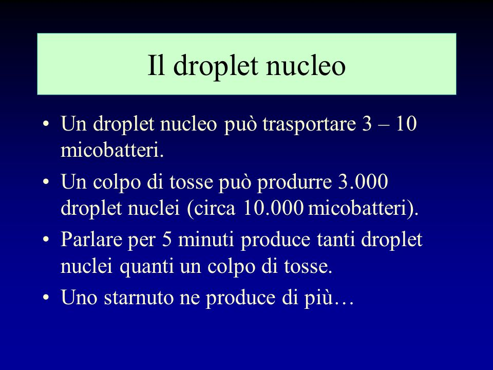 Il droplet nucleo Un droplet nucleo può trasportare 3 – 10 micobatteri.