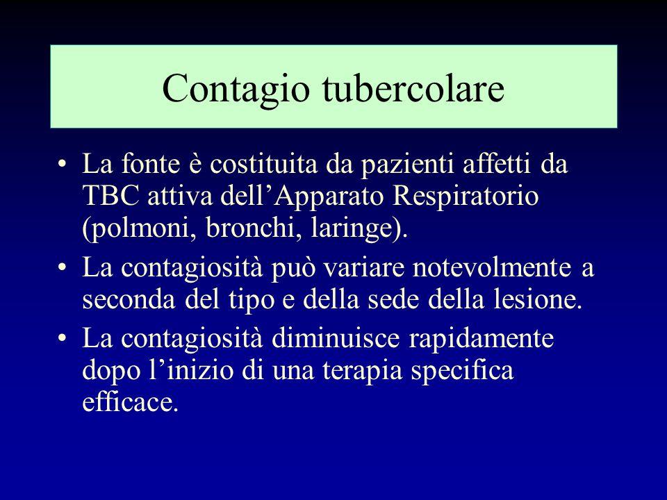 Contagio tubercolare La fonte è costituita da pazienti affetti da TBC attiva dell'Apparato Respiratorio (polmoni, bronchi, laringe).