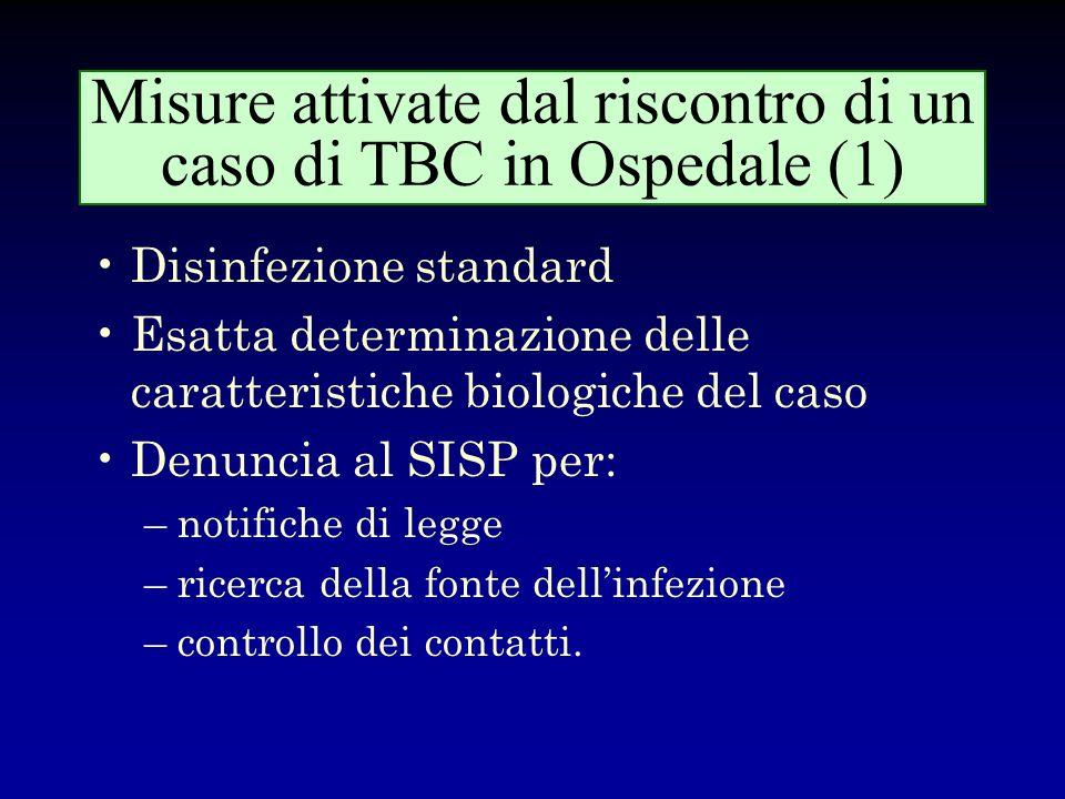 Misure attivate dal riscontro di un caso di TBC in Ospedale (1)