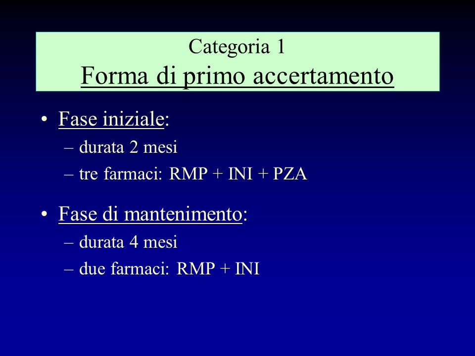 Categoria 1 Forma di primo accertamento