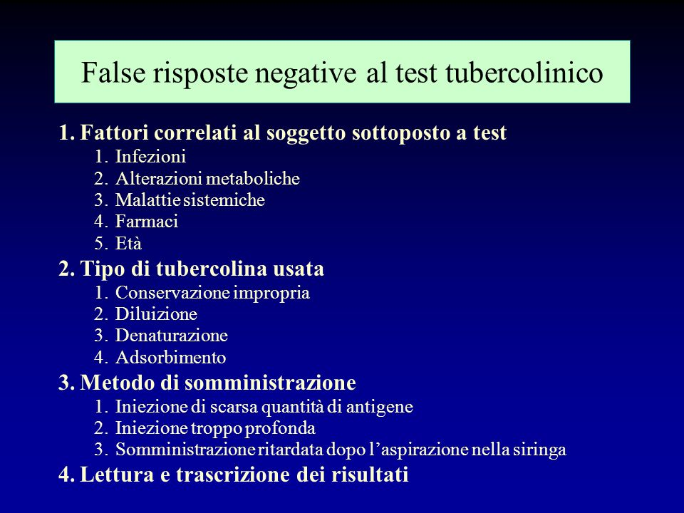 False risposte negative al test tubercolinico