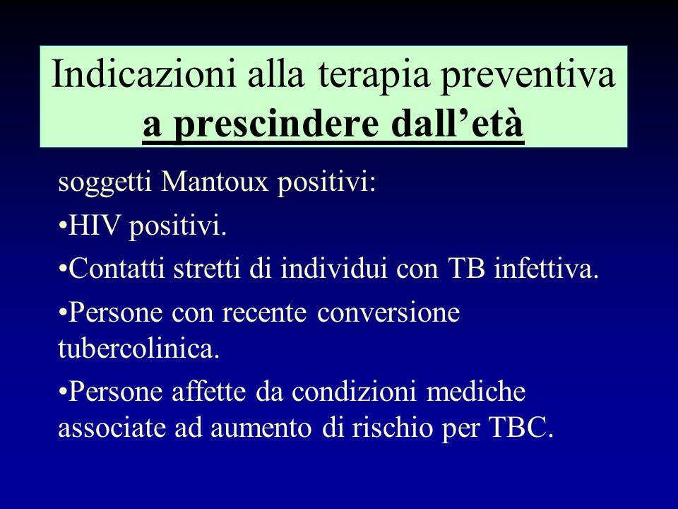 Indicazioni alla terapia preventiva a prescindere dall'età
