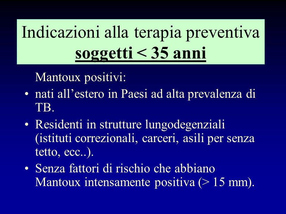 Indicazioni alla terapia preventiva soggetti < 35 anni