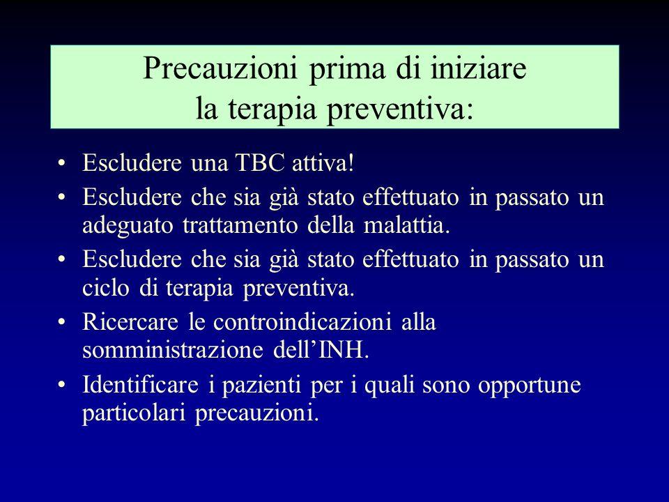 Precauzioni prima di iniziare la terapia preventiva: