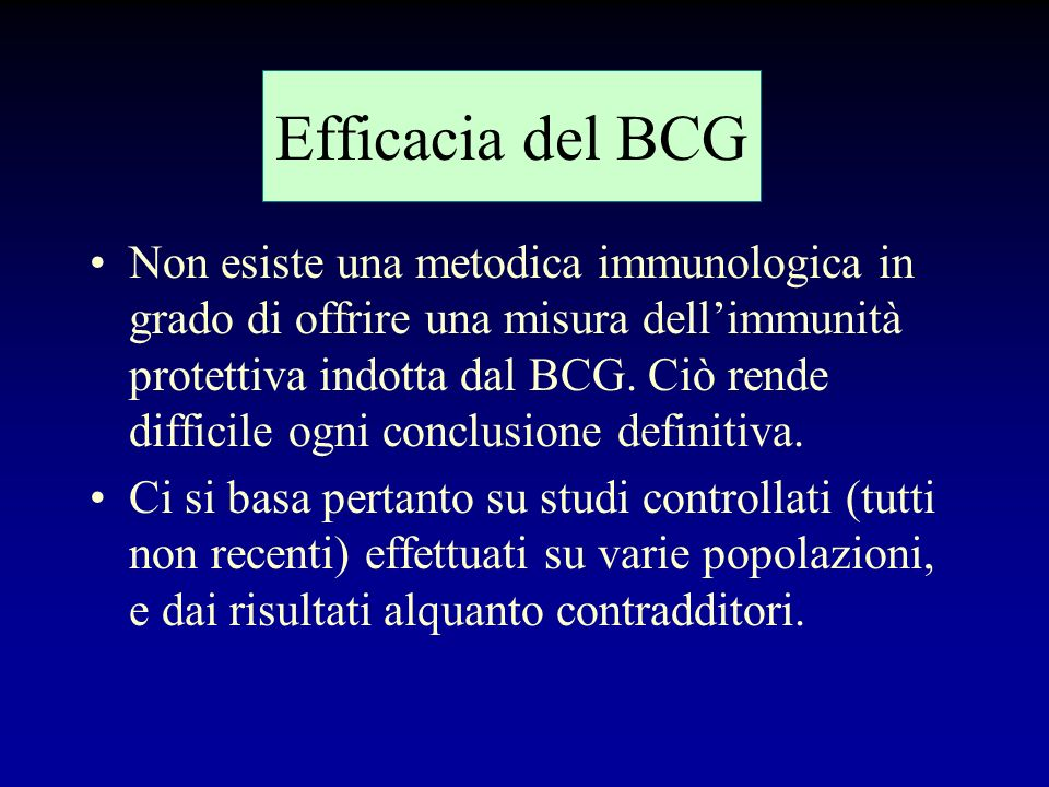 Efficacia del BCG