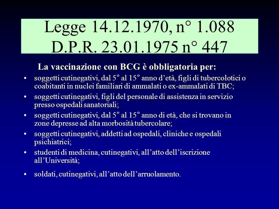 Legge 14.12.1970, n° 1.088 D.P.R. 23.01.1975 n° 447 La vaccinazione con BCG è obbligatoria per: