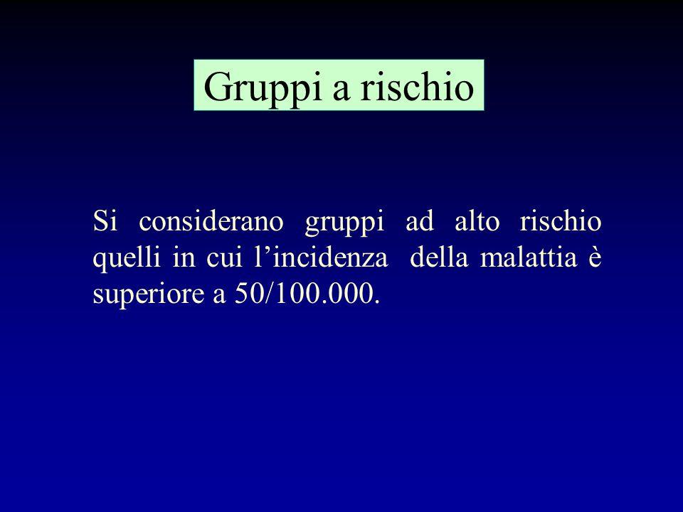Gruppi a rischio Si considerano gruppi ad alto rischio quelli in cui l'incidenza della malattia è superiore a 50/100.000.