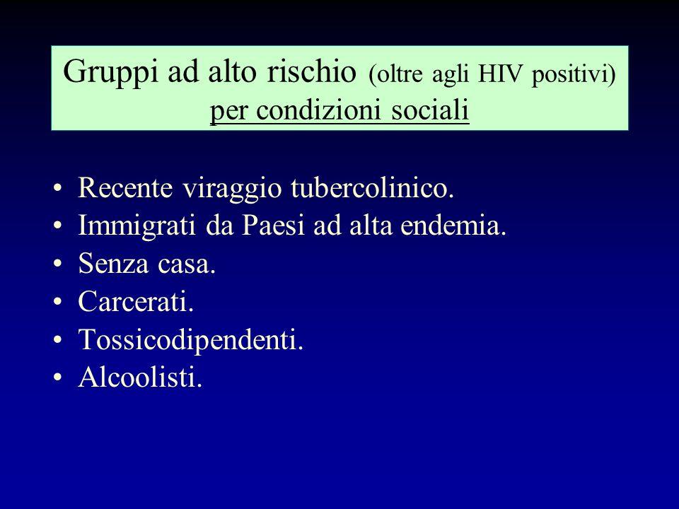 Gruppi ad alto rischio (oltre agli HIV positivi) per condizioni sociali