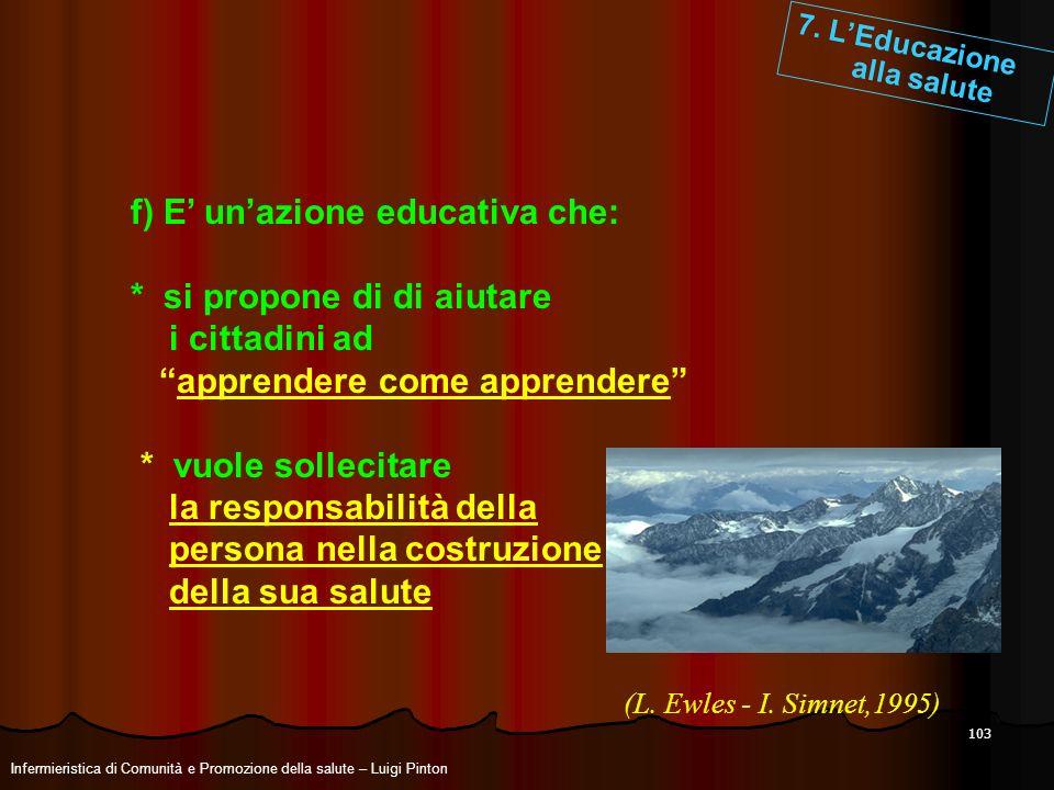 f) E' un'azione educativa che: * si propone di di aiutare